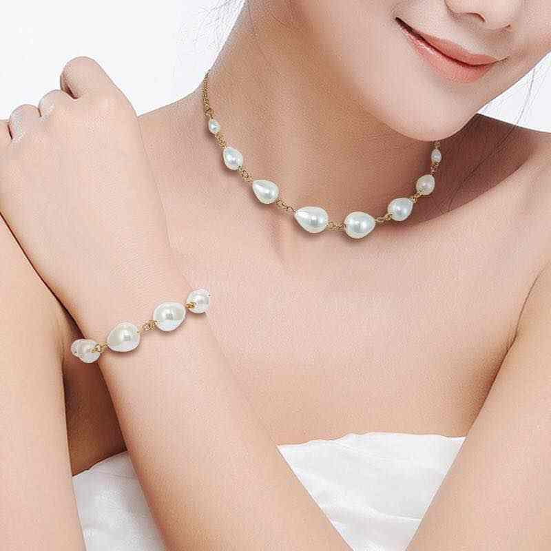Luxury Women Wedding Choker Necklace Bracelet Jewelry Sets Fresh Pearl 316L Stainless Steel Engagement Jewelry Accessories