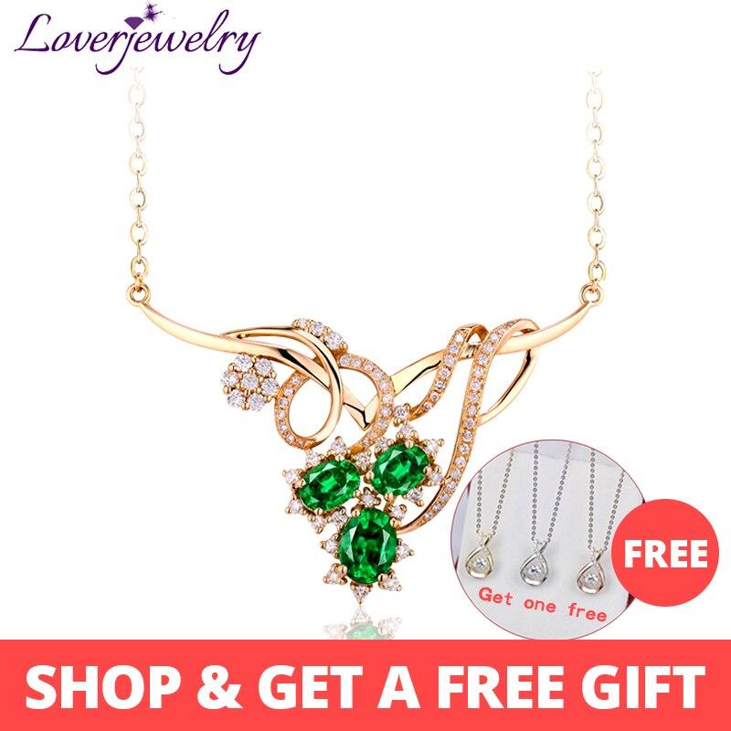 Collier Style reine Extravagant de loverbijouterie femme collier émeraude de mode ange avec diamant naturel or jaune 18 K WP052