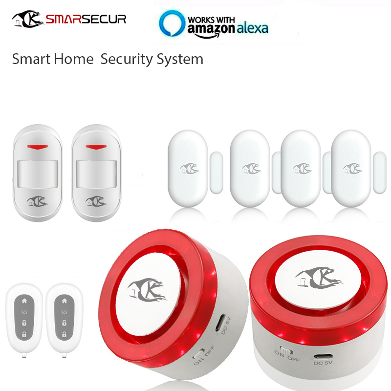 smart home security wifi alarm siren sensor for smart life free APP compatible