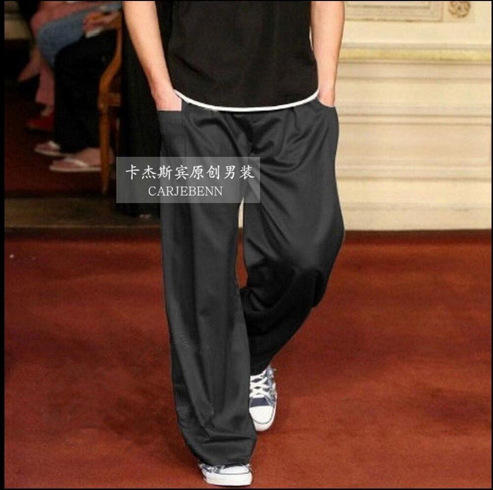M-4XL New casual straight trousers silk pants men's plus size pants thin tide wide legs pants Sweatpants singer costumes
