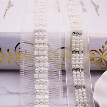 20yards Sequin Pearl Handmade Beaded Lace Trim Ribbons Mesh Lace Fabric DIY Clothing Wedding Dress Decoration Accessories