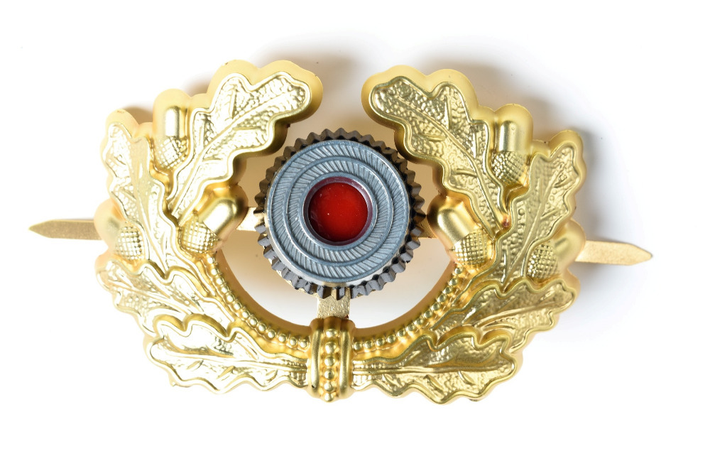 WW2 GERMAN VISOR CAP BADGE GOLD ARMY PANZER OFFICER'S WREATH COCKADE-38028