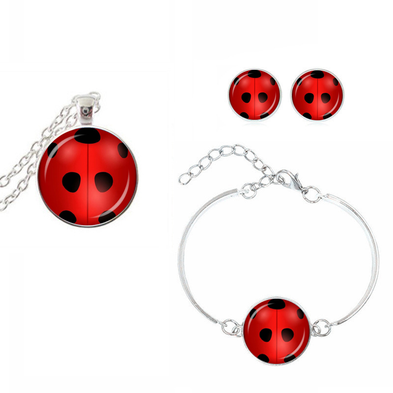 SUTEYI Fashion Necklace <font><b>Set</b></font> Ladybug Crystal Earrings Round Glass Necklace Ladybug Animal Earings <font><b>Bracelet</b></font> Ring Jewelry <font><b>Set</b></font> image