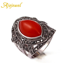 Size 7-9 New Arrival Beautiful Jewelry Vintage Green/Red Stone Ring 18K White Gold Plated