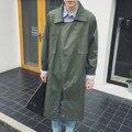 Mens larga trinchera abrigo hombres coreanos de moda casual gabardina abrigo de primavera chaqueta masculina otoño trench coat loose calle W920