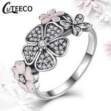 CUTEECO Authentic Silver Wedding Finger Rings for Women Daisy Cherry Blossom Brand Ring Femme Engagement Jewelry Dropshipping