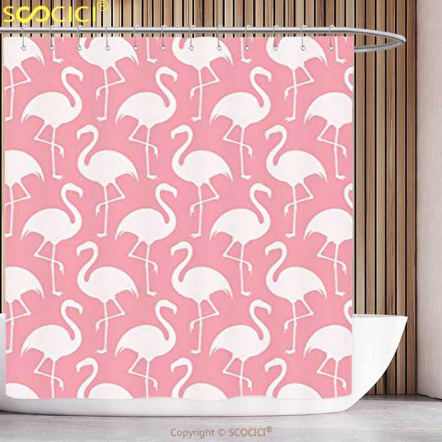 decorative shower curtain flamingo decor collection flamingo shape outline big birds caribbean decorative artful