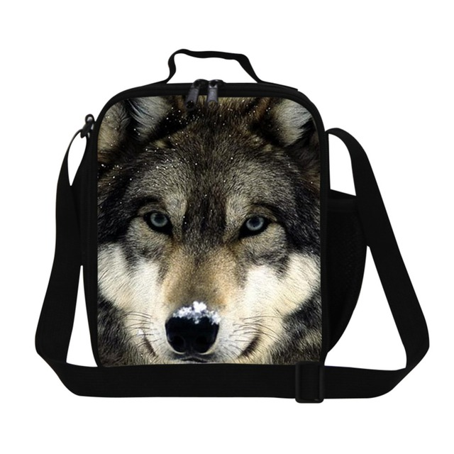 Cute Wolf 3D Print Thermal Lunch bags for Boys School,Cool Lunch Box Bag with Bottle Holder for men,Lunch Cooler Bags for adult