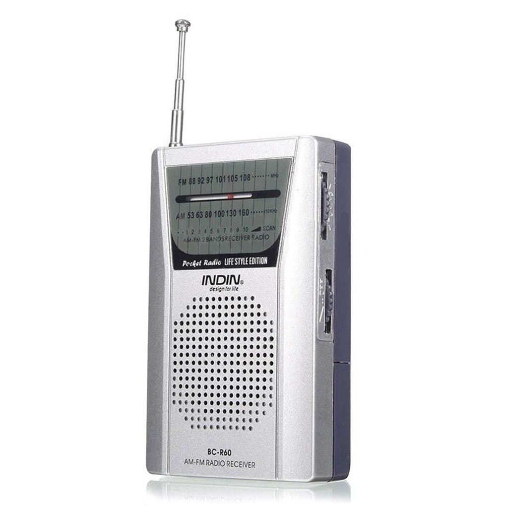 BC-R60 universel poche Radio antenne télescopique Mini AM/FM 2 bandes Radio monde récepteur avec haut-parleur 3.5mm prise écouteur