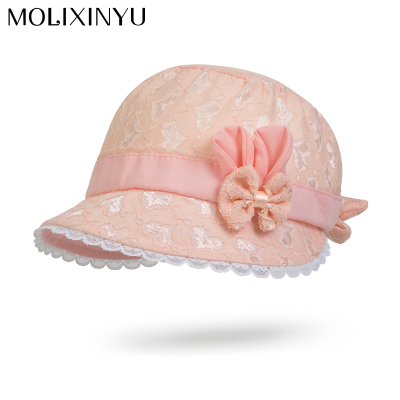 MOLIXINYU Baby Girl Cap Toddler Summer Cute Princess Baby Hat Bow Lace Hollow Kids Beach Bucket Hats Baby Sun Hat Girls(China)