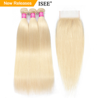 ISEE HAIR Straight 613 Bundles With Closure 3 Bundles Brazilian Hair Weave Bundles Virgin Human Hair Blonde Bundles With Closure