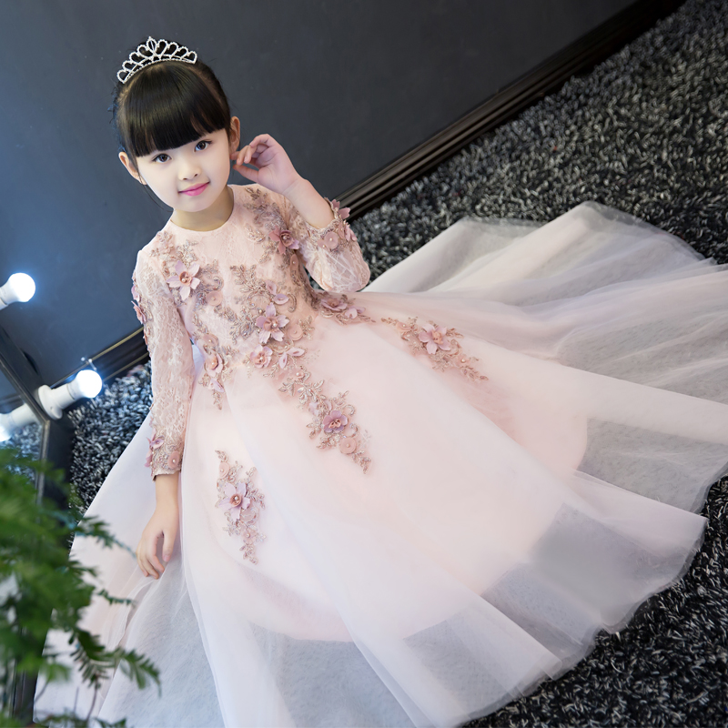 Toddler baby elegant dress full sleeve evening little girl princess lace flower applique birthday kid luxury wedding ball gowns