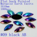 Free shipping new style 1000pcs 5X10mm Marquise earth facets AB colors mitation Acrylic flatback rhinestone glue on beads