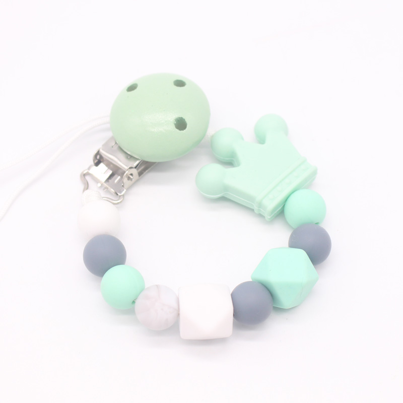 XCQGH Silicone Beads Wood Baby Pacifier Clip Teether Chew Toy Dummy Nipple Teethers Clip Holder Baby Shower Gift