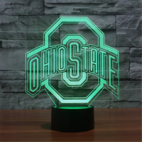 OHIO STATES Football 3D Lamp LED Night Light USB Table Touch 7 Colors Changing Football Cap