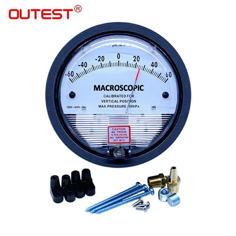 OUTEST Manomètre Mètre Paypal 0-30 PA/60 PA/3000 PA/5000 PA 1/8 NPT Air Baromètre retour montage manomètre