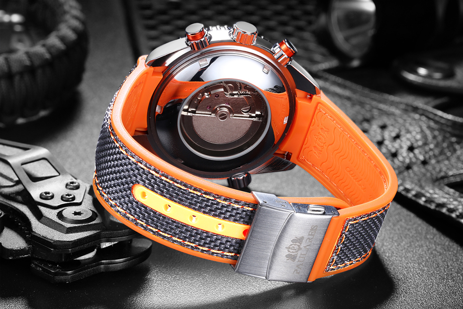 HTB13dOkdBCw3KVjSZFlq6AJkFXaO Men Automatic Self Wind Mechanical Canvas Rubber James Bond 007 Style Orange Blue Multifunction Date Month Sport Watch
