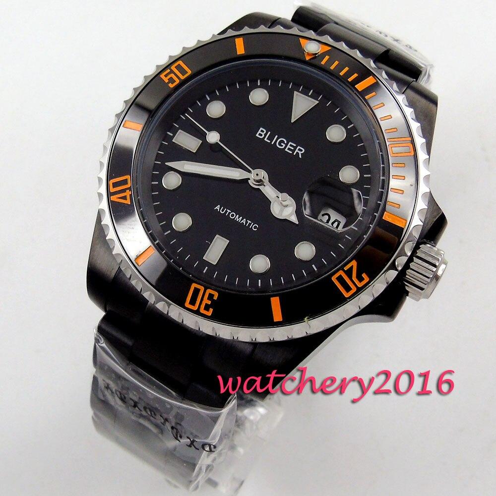 Modisch 40mm bliger black dial PVD case ceramic bezel Luminous marks Auto Date orange number Automatic movement Mens Watch