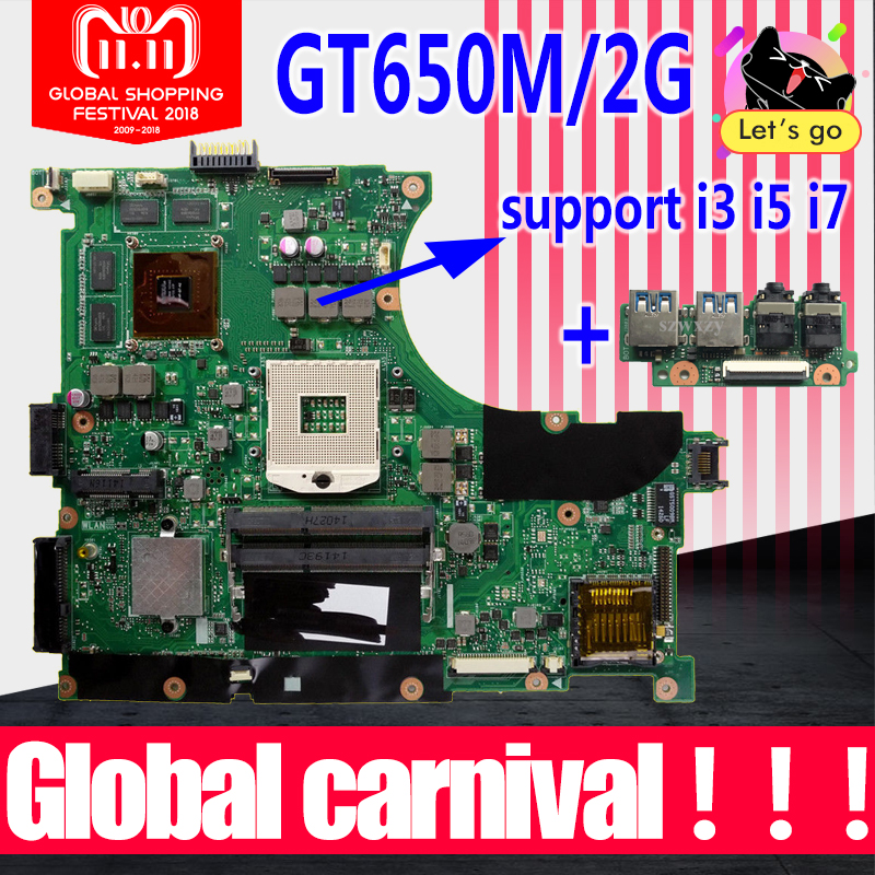 купить New USB baord+N56VM motherboard Rev 2.3 GT650M 2GB For Asus N56VM N56VJ N56V N56VZ N56VB N56VV N56VM laptop motherboard Mainboad по цене 3722.47 рублей