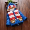 Niños Boy Prendas de Abrigo de Invierno Cálido Chaqueta de Algodón acolchado para Niños Moda Niños Ropa de Rayas Con Capucha de la Historieta 0-2years