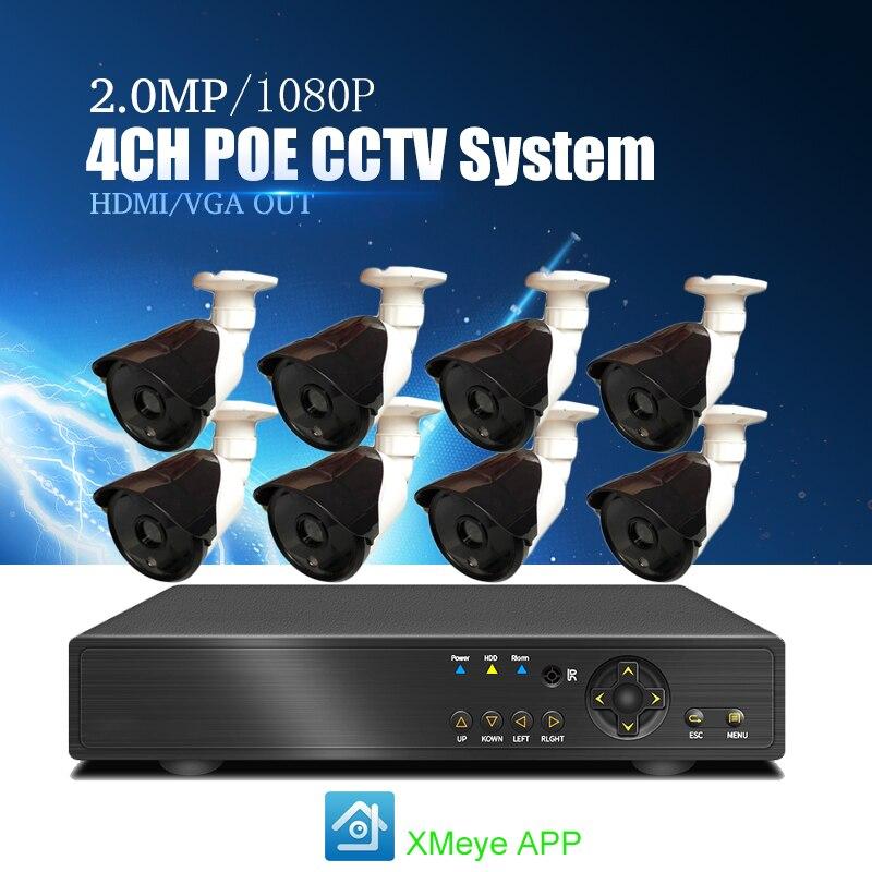 YiiSPO 8CH POE CCTV System 1080P IP Camera Weatherproof IR Night Vison Security 2.0MP Camera Surveillance Kit P2P XMeye APP view
