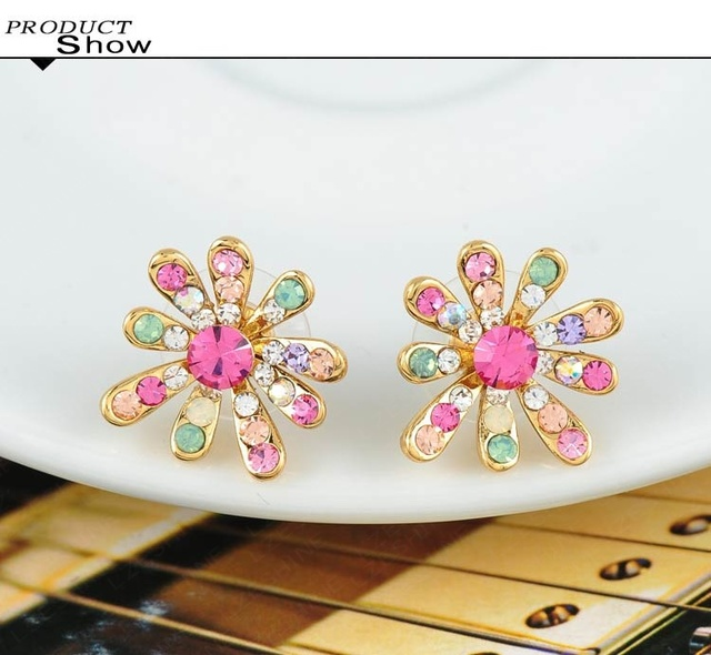 Gold Plated Stud Earrings with Colorful Austrian Crystal Flower