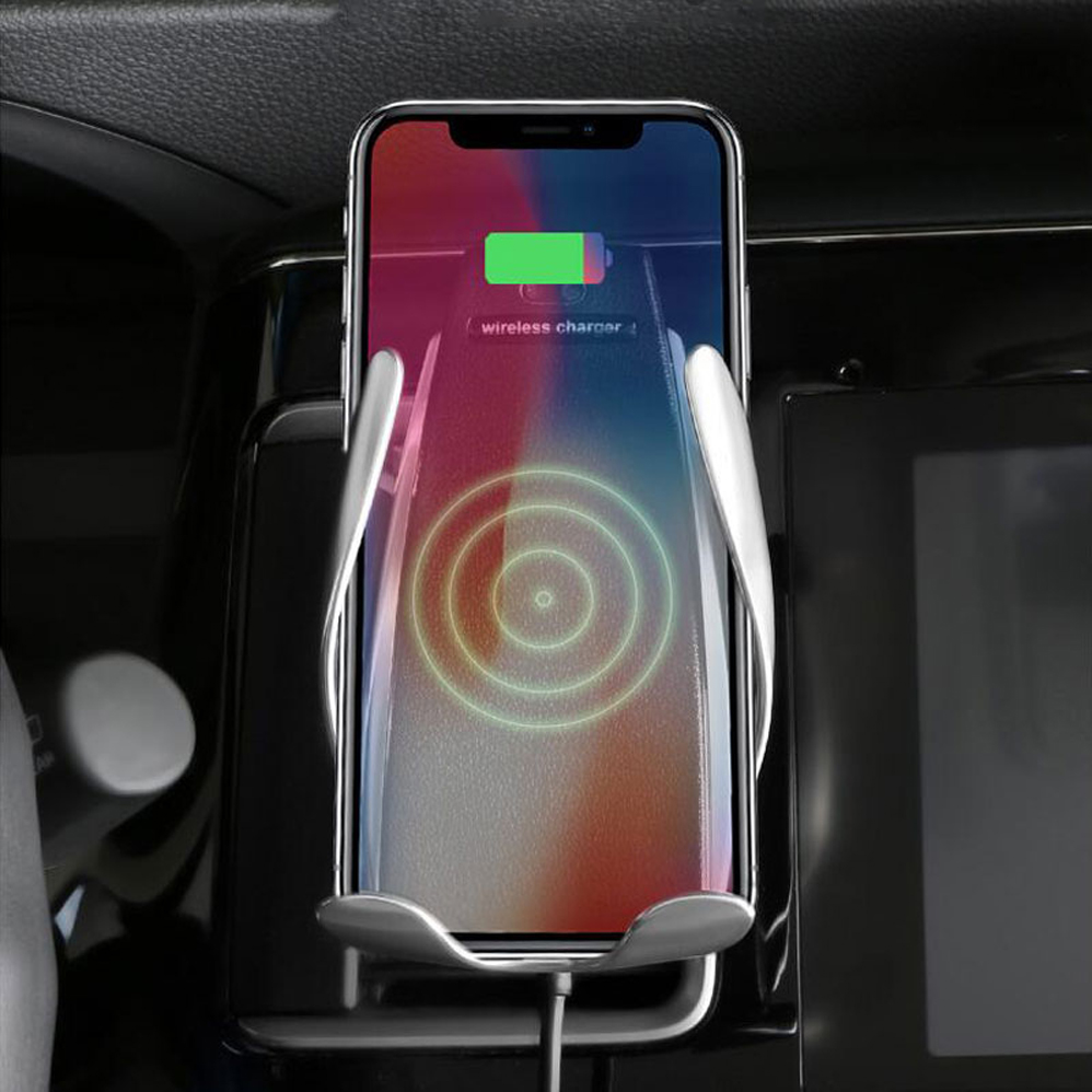 10W Wireless Car Charger S5 Automatic Clamping Fast Charging Phone Holder Mount in Car for iPhone xr Huawei Samsung Smart Phone in Universal Car Bracket from Automobiles Motorcycles