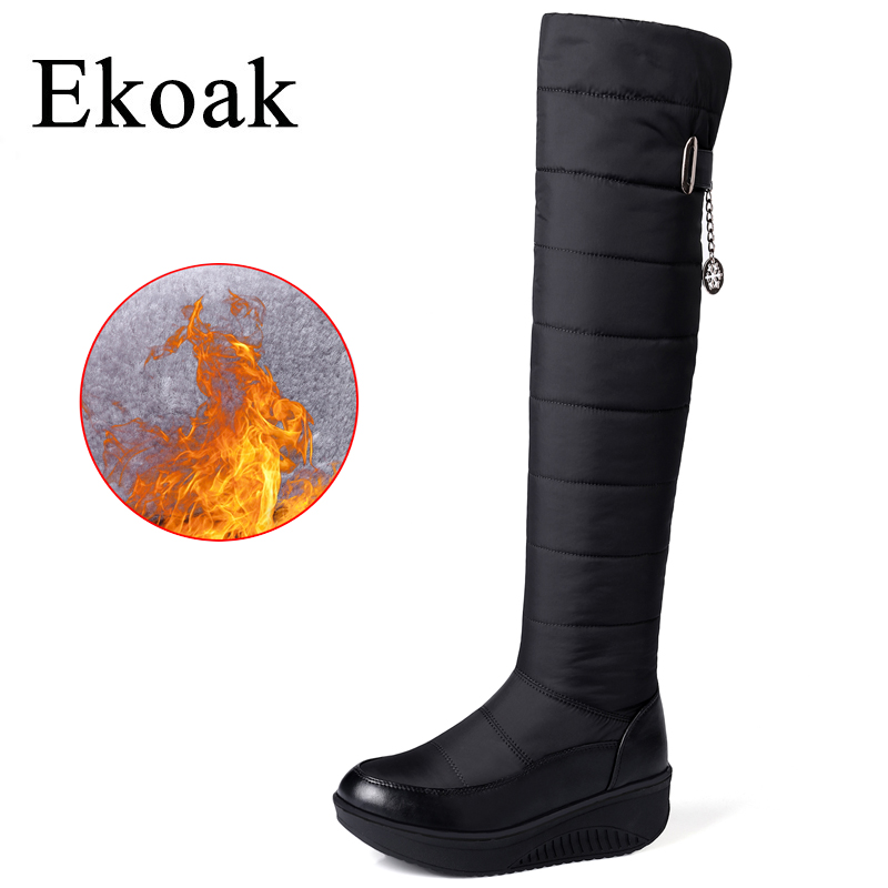 Ekoak Winter Women Thigh High Boots Warm Down Snow Boots Ladies Fashion Over The Knee High Boots Wedges Shoes Woman Long Boots thigh high over the knee snow boots womens winter warm fur shoes women solid color casual waterproof non slip plush wedges botas