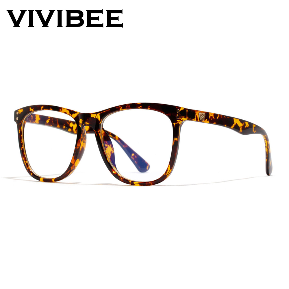 VIVIBEE Women Oversized Leopard Anti Blue Ray Light Filter Glasses For Computer Protection Blocking Gaming Men Glasses