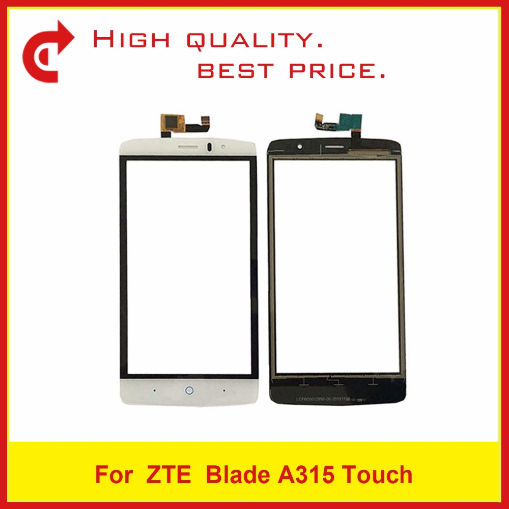 High Quality 5.0 For ZTE Blade A315 Digitizer Touch Screen Panel Sensor Outer Glass Lens Black&White FreeShipping+Tracking Code