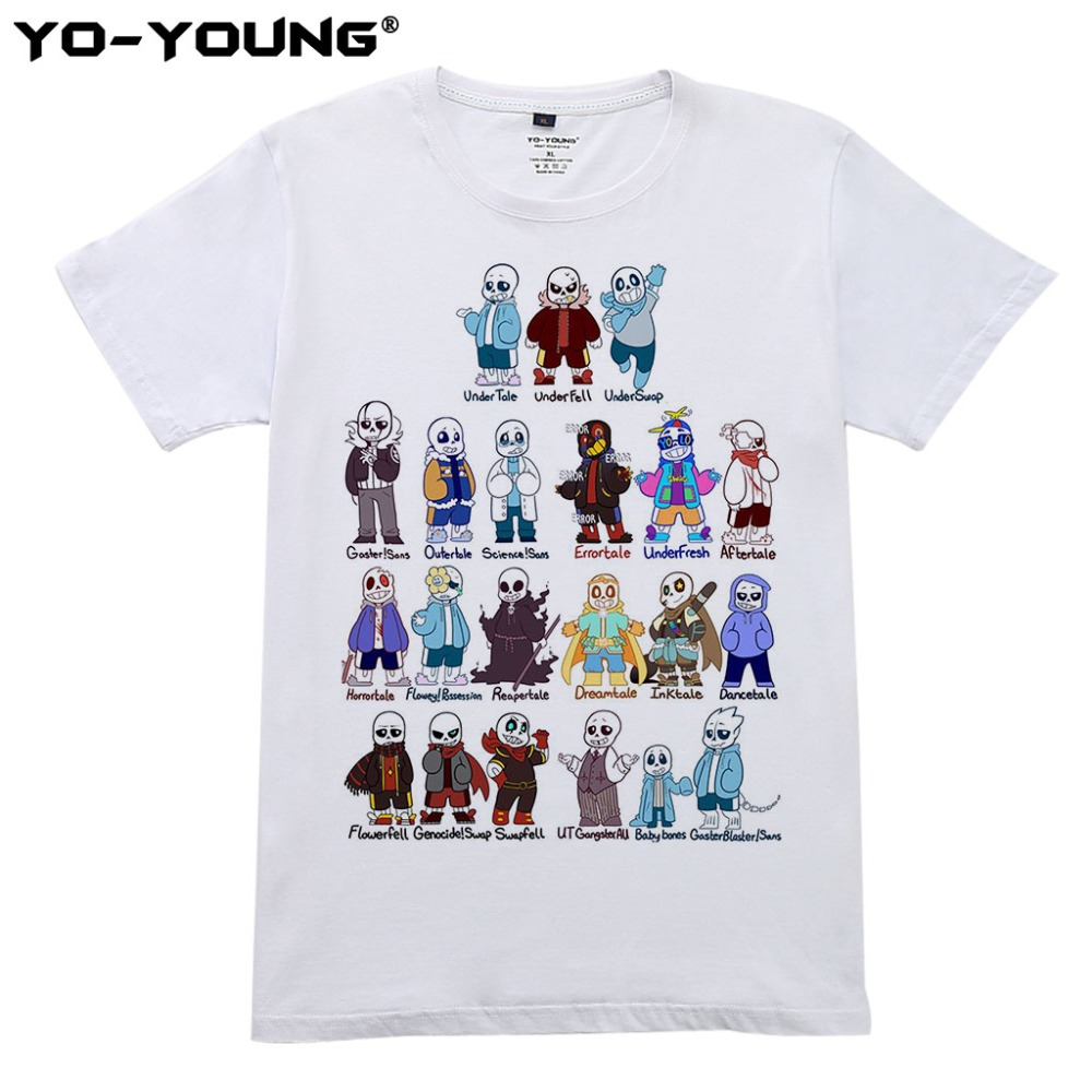 Undertale Sans Fashion Game T Shirts Men Funny Design Printing Cotton Casual Men Top Tees Customized