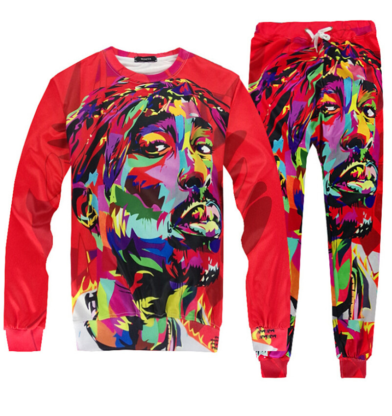 Sweats fashion Women Men hip hop tracksuit print tupac 2pac sweatshirts+casual pants 2 pcs set size S-XXL Free shipping