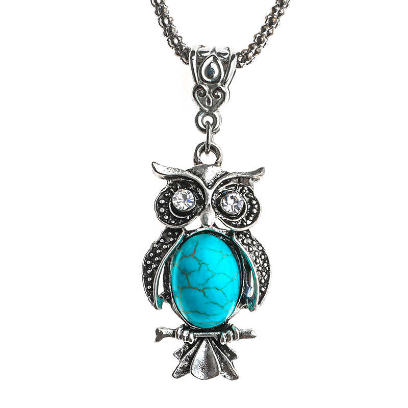 QCOOLJLY Women/Girls Favorite Owl Necklace Pendant Lovely Sweater Necklaces Natural Stone Trendy Jewelry
