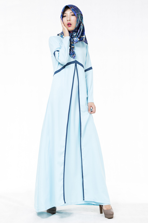 New Latest Muslim Womens font b Abaya b font Dress O Neck Long Sleeve Floor Length