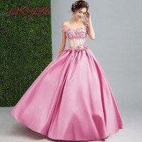AXJFU Fairies fans pink flowers evening dress bridal gowns toast dresses, dinner parties pink flower evening dress 220
