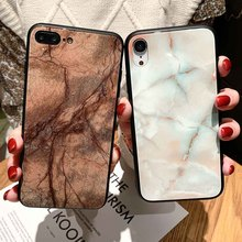 Tempered Glass Hard Case For iPhone XR X XS Xs Max 7 8 Plus Cases 6 6S Plain Marble Business Cover
