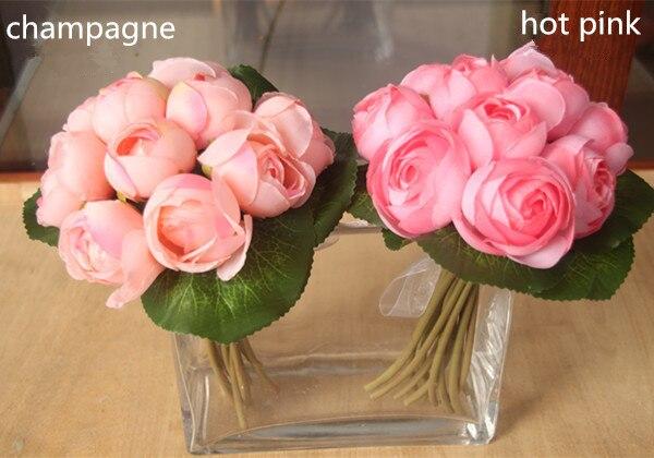 Новое поступление розовый фиолетовый шампанское белый Red 10 главы шелковый роуз брошь свадебный бросок букет fleurs poignet блан шелк