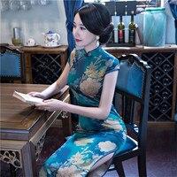 Summer New Sexy Chinese Women Dress Slim Elegant Short Sleeve Qi Pao Print Flower Novelty Long Cheongsam Plus Size 3Xl 4XL