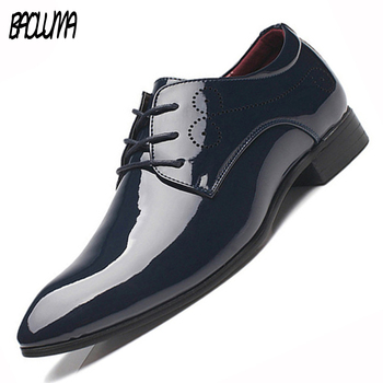 BAOLUMA Men Oxford Shoes Pointed Toe Men Dress Shoes Business Wedding Shoes Pu Leather Oxfords Formal Shoes For Male