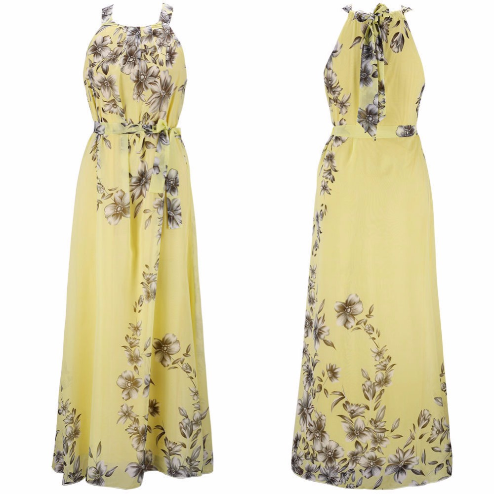 Plus Size S-6XL 2018 Summer New Women's Long Dresses Beach Floral Print Boho Maxi Dress With Sashes Women Clothing D86001L 2