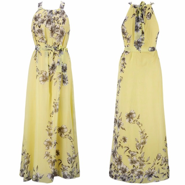 Plus Size S-6XL Summer New Women's Long Dresses Beach Floral Print Boho Maxi Dress With Sashes Women Clothing D86001L