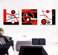 Free shipping black red white abstract poster geometric pattern print canvas Home Decoration 3 Pieces