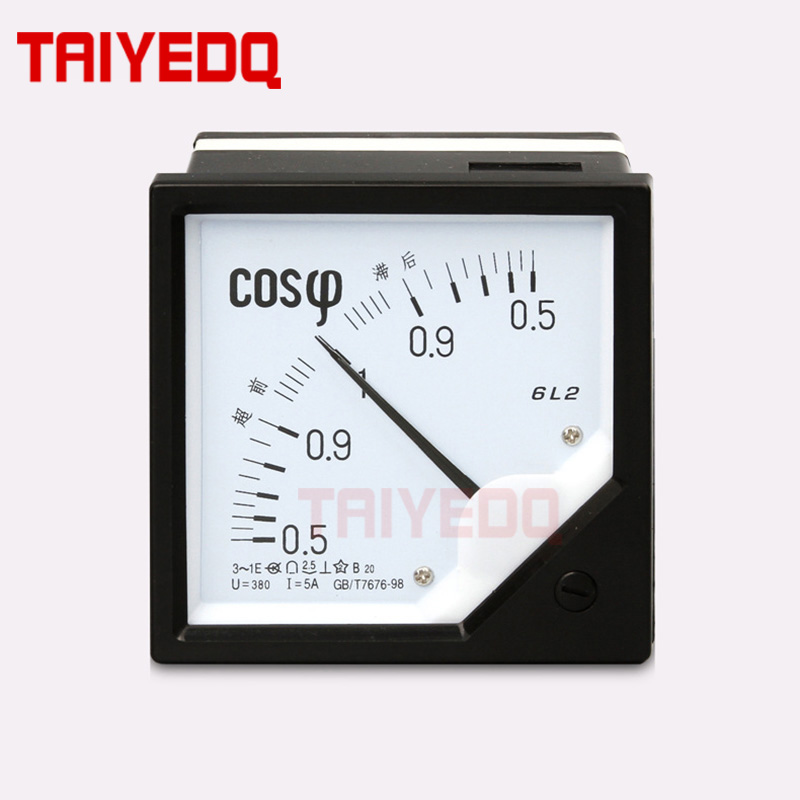 AC 6L2 Analog COS Power Factor Meter 5A 6L2-COS Panel Meter AC100V/220V/380V Electric Power Factor Meters