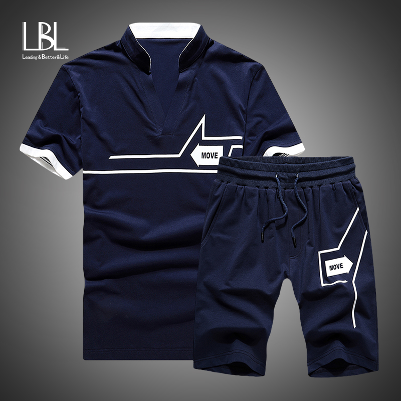 Tracksuit Men New 2019 Summer Two Piece Set Men Short Sleeve T Shirt Cropped Top+Shorts Suit Mens Sportwear Shorts Sets Outwear