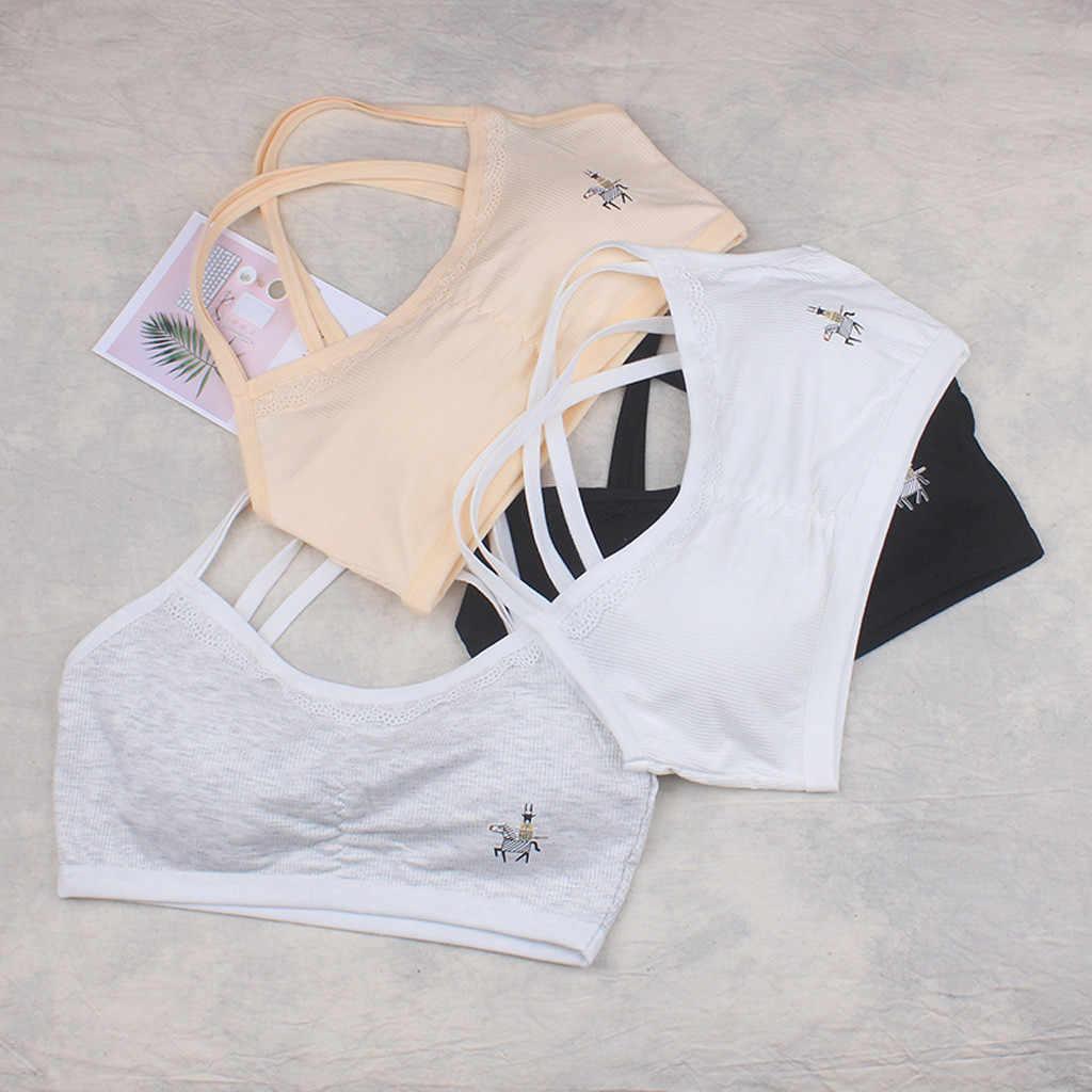 Adolescente Meninas Roupa Interior de Algodão Macio Acolchoado Carta Impressão Sutiã para As Meninas para Esportes Yoga Execução Tamanho Livre Roupa Interior Meninas roupas