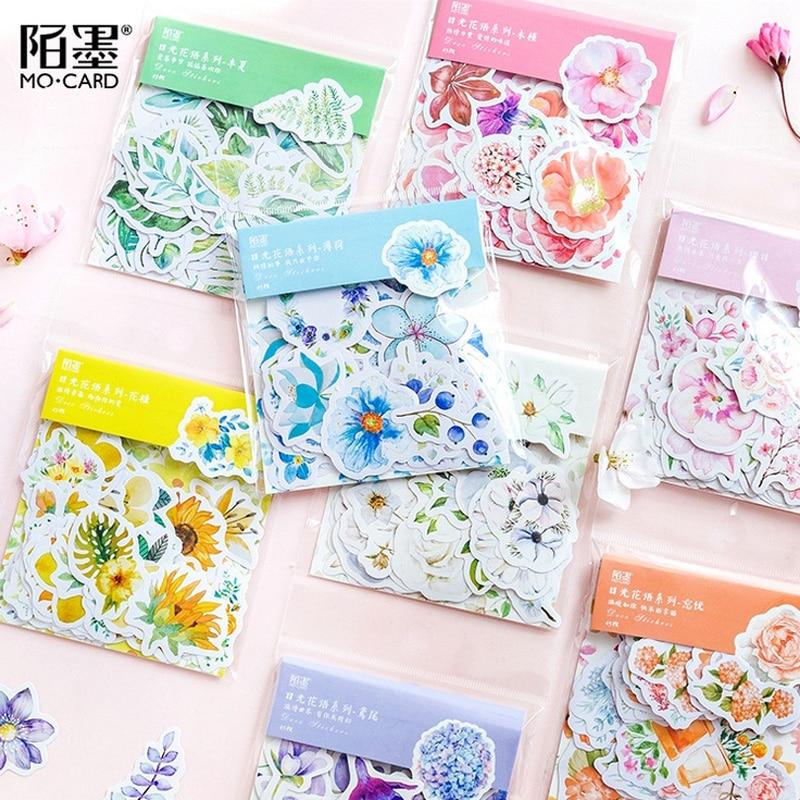 45 Pcs/bag Beautiful Flowers Plants Student Mini Paper Sticker Bag Package DIY Diary Decoration Sticker Album Scrapbooking