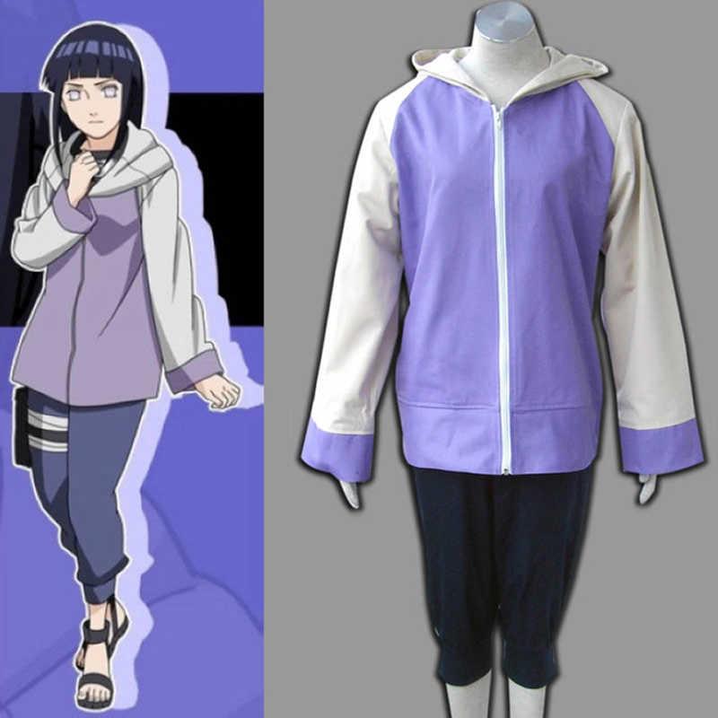 Anime Naruto Shippuuden Hinata Hyuga 2ª generación, conjunto completo, disfraz de Cosplay para chica, ropa deportiva de dos piezas (chaqueta + Pantalones)
