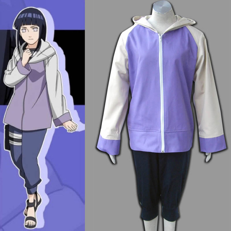 Anime Naruto Shippuuden Hinata Hyuga 2nd Generation Full Combo Set Cosplay Costume For Girl Sportswear Two Pieces (Jacket+Pants)