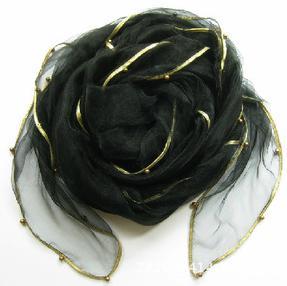 Женский летний Одноцветный полосатый шарф из органзы, украшенный бисером, женский весенний золотой ободок, длинный бисер, тонкая мягкая шаль - Цвет: 2