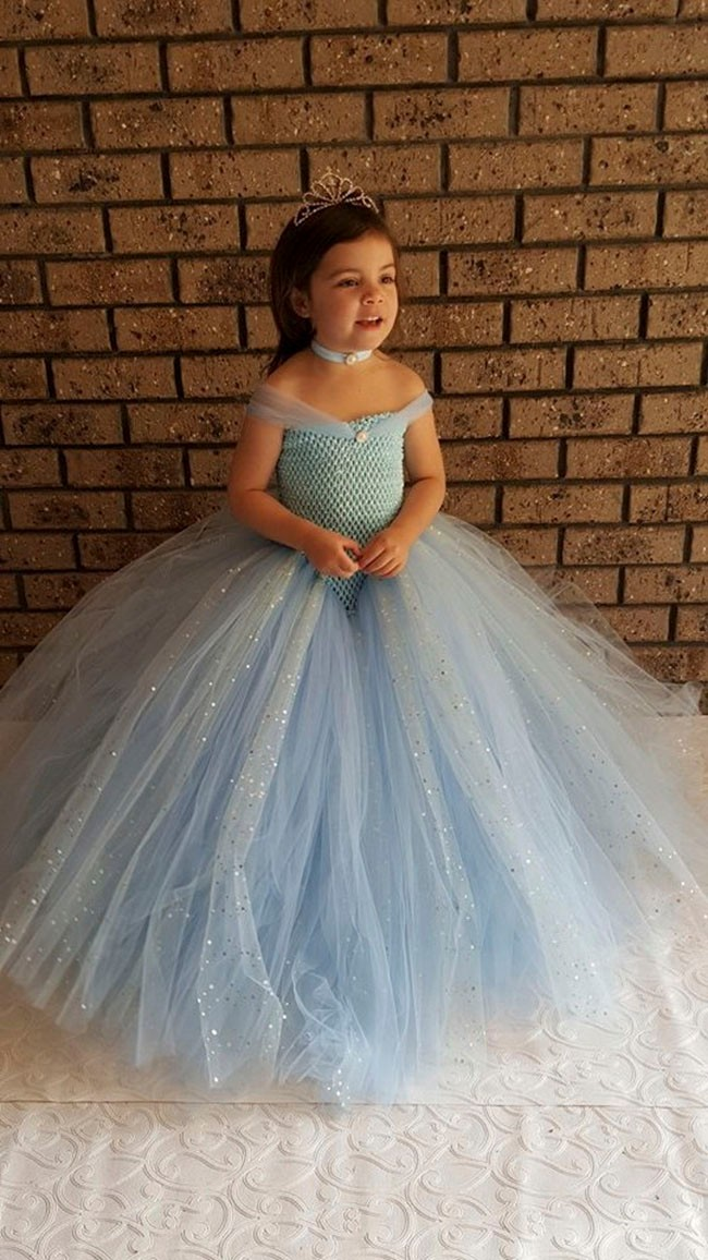 Light Blue V- shaped Gown Tutu Dress - Stunning Blue Glittery Gown dress inspired by FunkidsandUs Boutique21